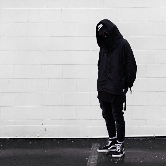 The above picture is an example of sk8 His being used in a techwear  inspired outfit. Typically, a techwear outfit would feature a more  futuristic and clean
