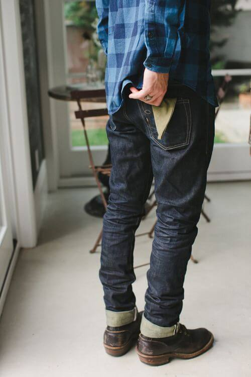raw denim with brown boots