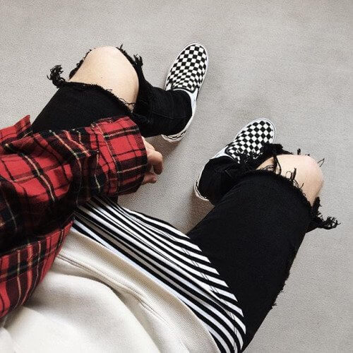 Mens Black White Striped Shirt