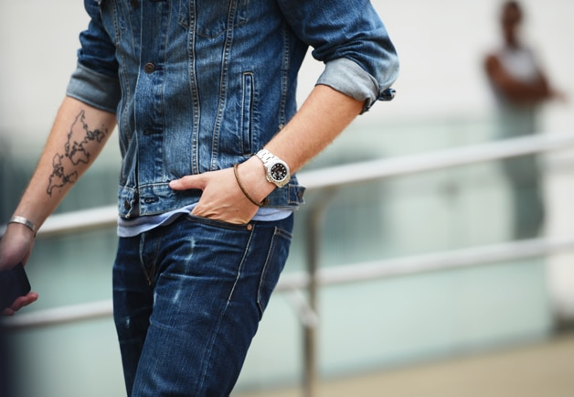 denim jacket and denim jeans outfit